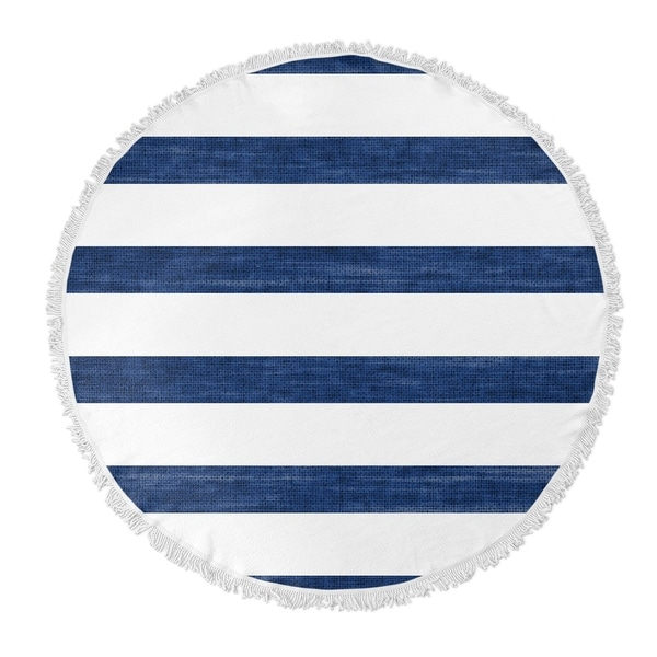 "Kavka Designs Mashpee Blue/ White 60""X60"" Round Beach Towel"