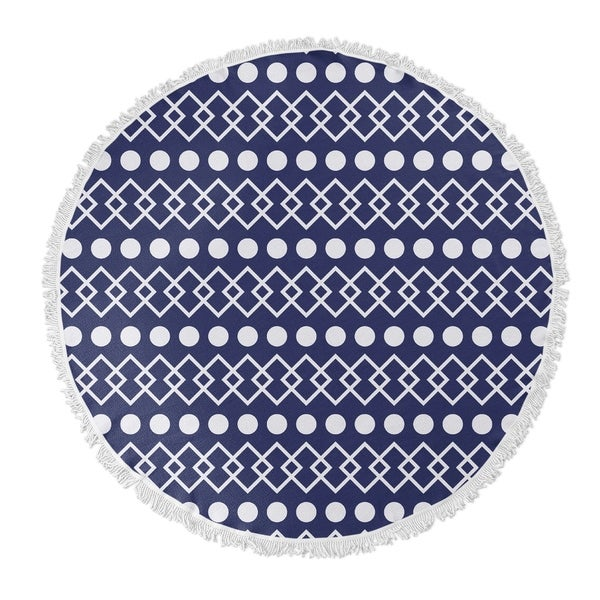 "Kavka Designs Chains + Dots Blue/ White 60""X60"" Round Beach Towel"