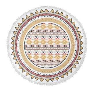 "Kavka Designs Yellow Tribal Tan/ Red/ White 60""X60"" Round Beach Towel"