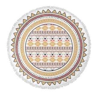 "Kavka Designs Yellow Tribal Tan/ Red/ White 60""X60"" Round Beach Towel"