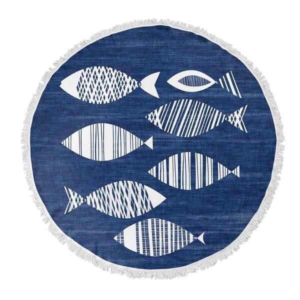 "Kavka Designs Fish Blue 60""X60"" Round Beach Towel"