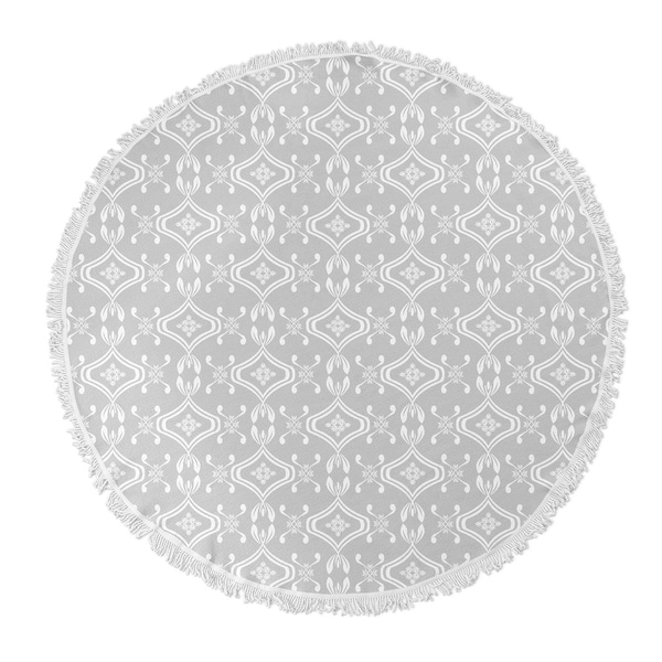 "Kavka Designs Heena Grey 60""X60"" Round Beach Towel"