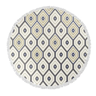 "Kavka Designs Honeycomb Gold/ Blue 60""X60"" Round Beach Towel"