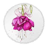 "Kavka Designs Draping Flower Pink/ Green/ Purple 60""X60"" Round Beach Towel"