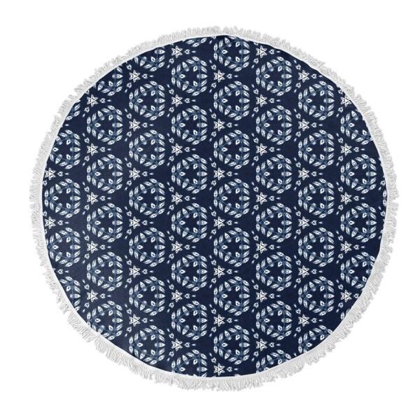 """Kavka Designs Earwyn Blue 60""""X60"""" Round Beach Towel"""