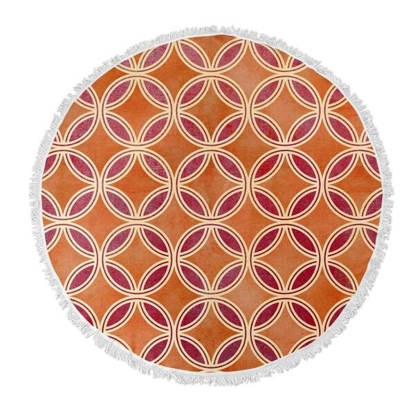 "Kavka Designs GeoCircles Orange/ Red 60""X60"" Round Beach Towel"