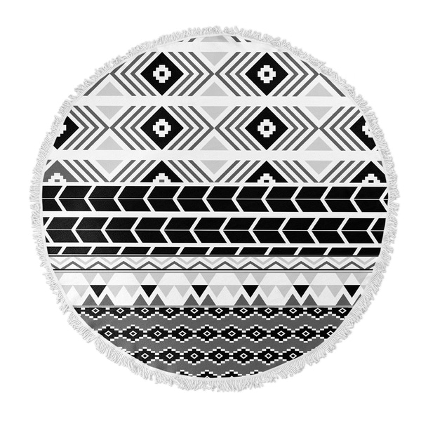 "Kavka Designs and Tribal Grey/ White/ Black 60""X60"" Round Beach Towel"
