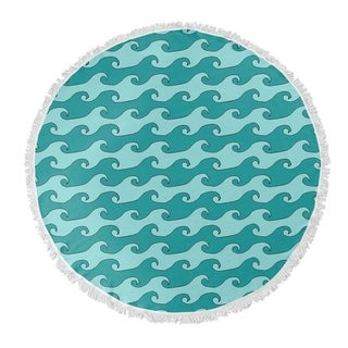 "Kavka Designs Waves Turquoise/Teal 60""X60"" Round Beach Towel"