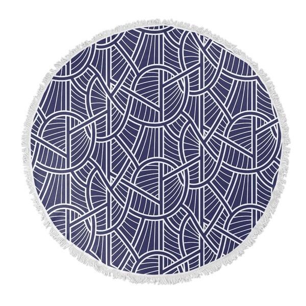 """Kavka Designs Geo Vines Blue/ White 60""""X60"""" Round Beach Towel"""