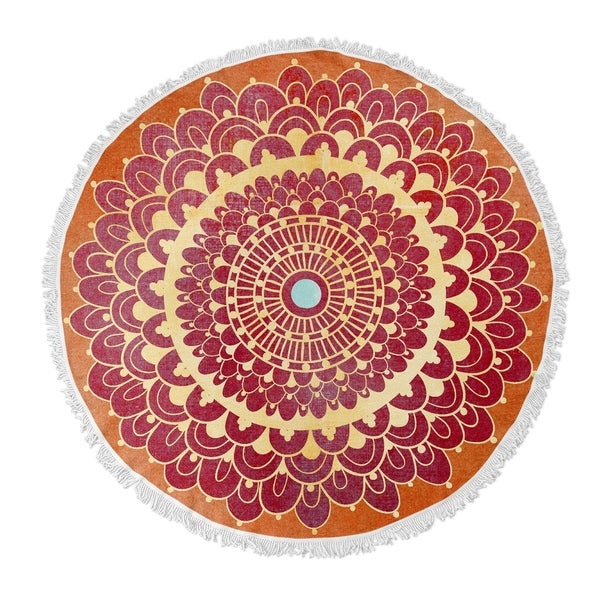 "Kavka Designs Boom boom Orange Red/ Yellow/ Blue 60""X60"" Round Beach Towel"