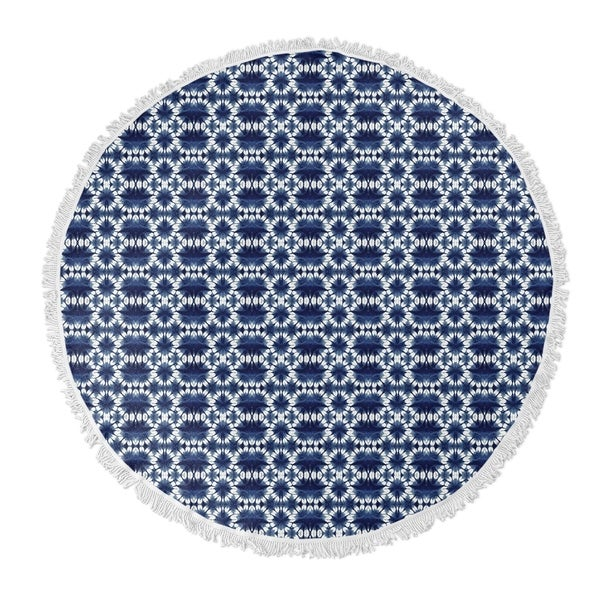 "Kavka Designs Harp Blue 60""X60"" Round Beach Towel"