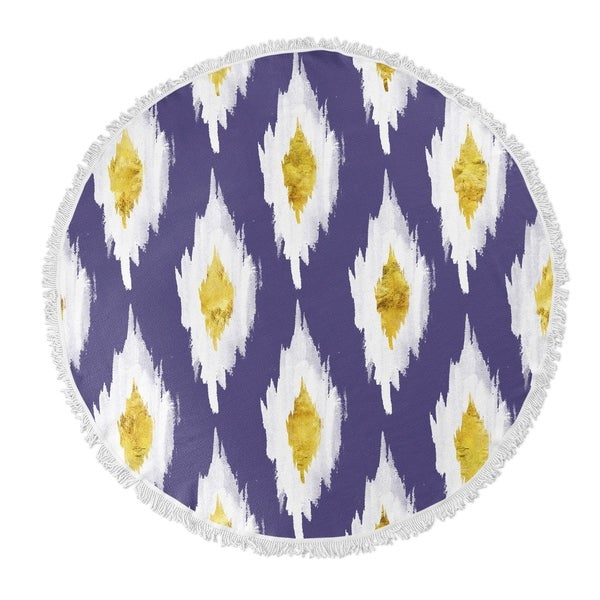 "Kavka Designs Abstract Blue/ White/ Yellow 60""X60"" Round Beach Towel"