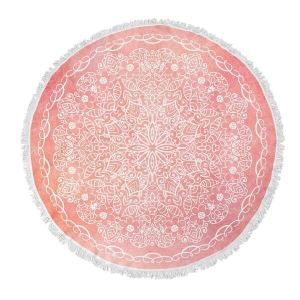 """Kavka Designs Majestic Pink/ Blush 60""""X60"""" Round Beach Towel"""