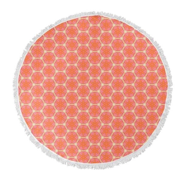"Kavka Designs Coralia Orange/ Pink 60""X60"" Round Beach Towel"