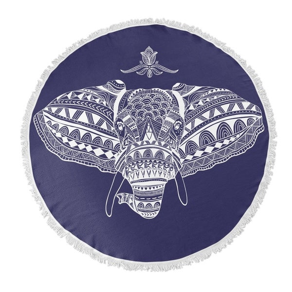 "Kavka Designs Majestic Elephant Blue/ White 60""X60"" Round Beach Towel"