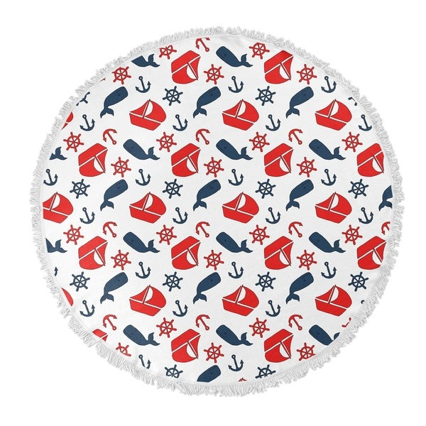 "Kavka Designs Nautical Navy Navy/Red 60""X60"" Round Beach Towel"