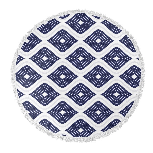 "Kavka Designs Ogee Inverted Blue/ White 60""X60"" Round Beach Towel"