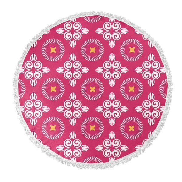 """Kavka Designs Scrolled Floral Pink/ White/ Yellow 60""""X60"""" Round Beach Towel"""