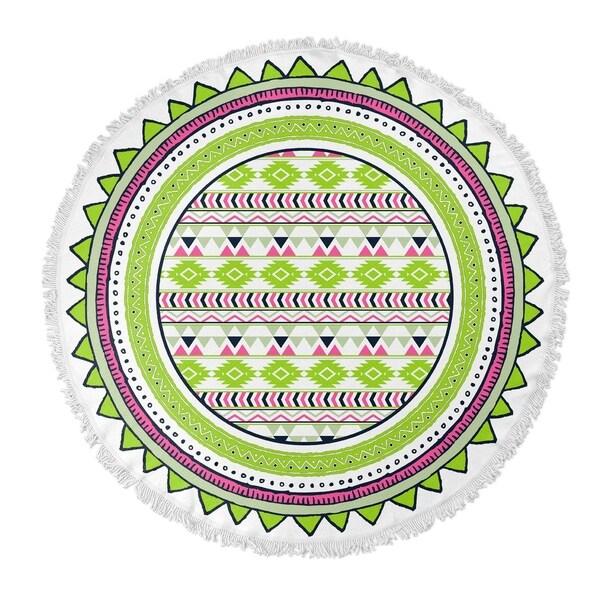 "Kavka Designs Tribal go Lime Green/ Red/ White 60""X60"" Round Beach Towel"
