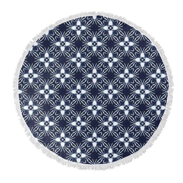 """Kavka Designs Anthia Blue/ White 60""""X60"""" Round Beach Towel"""