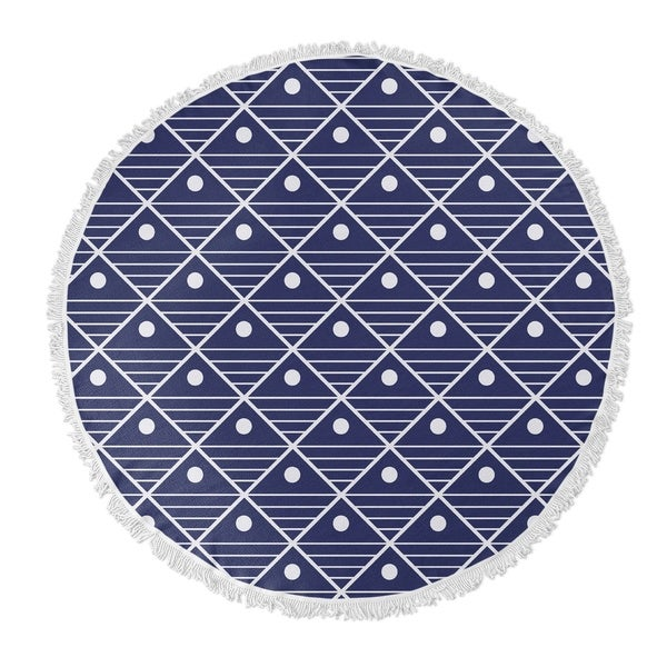 "Kavka Designs Moon Lake Blue/ White 60""X60"" Round Beach Towel"