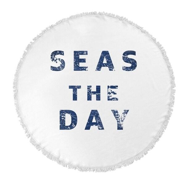 "Kavka Designs Seas The Day Blue 60""X60"" Round Beach Towel"