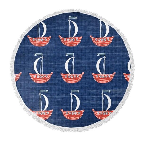 "Kavka Designs Sail Away Blue 60""X60"" Round Beach Towel"