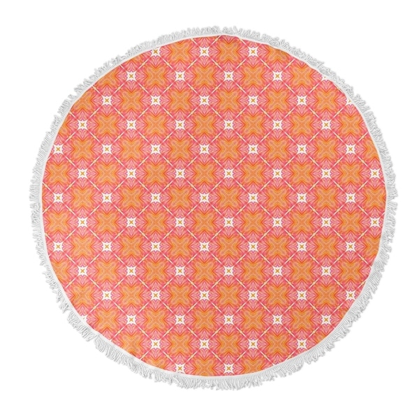 "Kavka Designs Coral Orange/ Pink 60""X60"" Round Beach Towel"