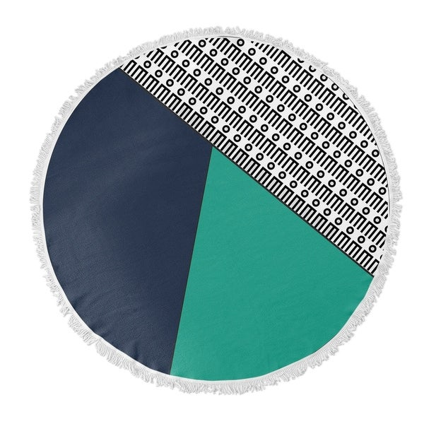 "Kavka Designs Sidra Blue/ Green/ Black 60""X60"" Round Beach Towel"