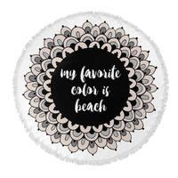 "Kavka Designs Beach Colors Tan/ Black/ White 60""X60"" Round Beach Towel"