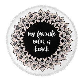 "Kavka Designs Beach Colors Tan/ Black/ White 60""X60"" Round Beach Towel"