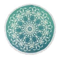 "Kavka Designs Envy Blue/ Green 60""X60"" Round Beach Towel"