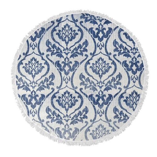 "Kavka Designs Seabury Blue/ White 60""X60"" Round Beach Towel"