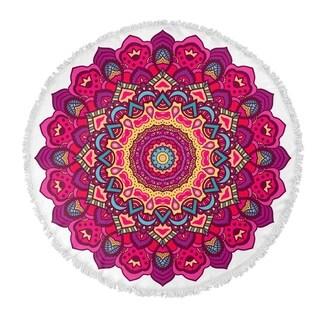 "Kavka Designs Serendipity Pink/ Purple/ Red/ Yellow 60""X60"" Round Beach Towel"
