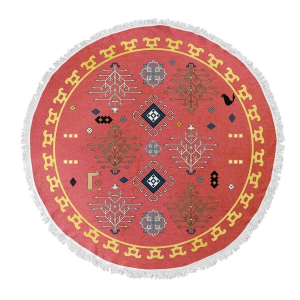 "Kavka Designs Midas Coral Red/ Blue/ Gold 60""X60"" Round Beach Towel"