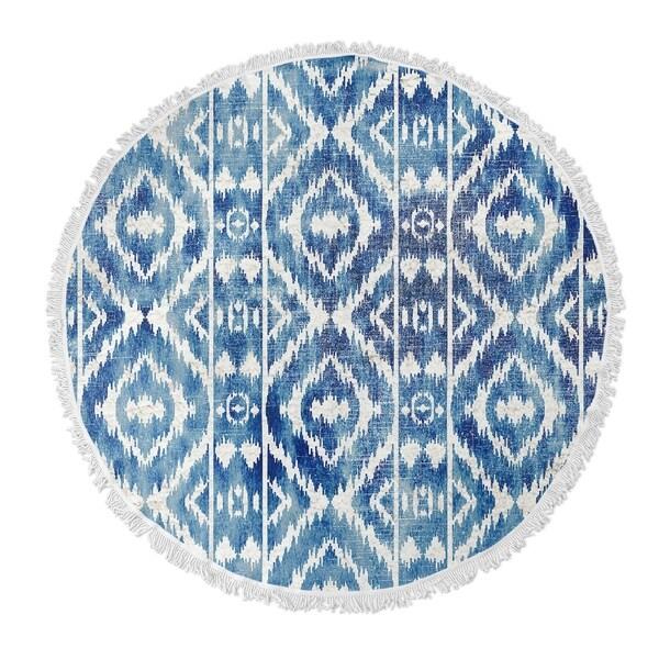 "Kavka Designs Cilia Blue/ White 60""X60"" Round Beach Towel"
