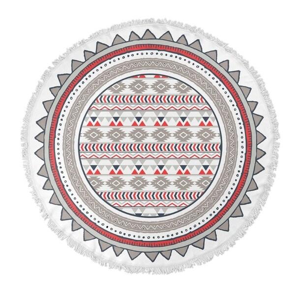 "Kavka Designs Tribal go Grey/ Green/ White 60""X60"" Round Beach Towel"