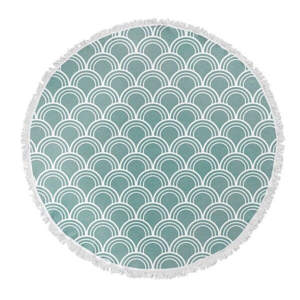 "Kavka Designs Green Loops Blue 60""X60"" Round Beach Towel"
