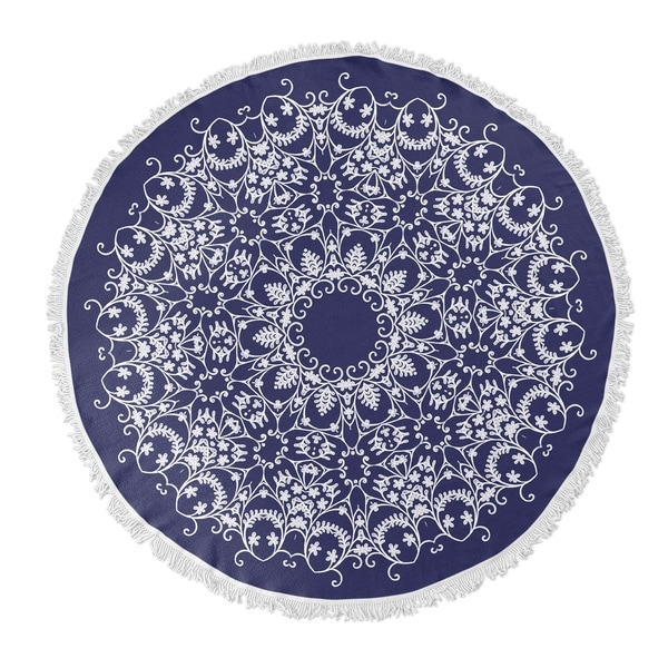 "Kavka Designs Bloom scroll Blue/ White 60""X60"" Round Beach Towel"