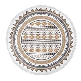 "Kavka Designs Tribal go Tan/ Grey/ White 60""X60"" Round Beach Towel"