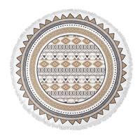 "Kavka Designs Tribal go Tan/ Grey/ White 60""X60"" Round Beach Towel"