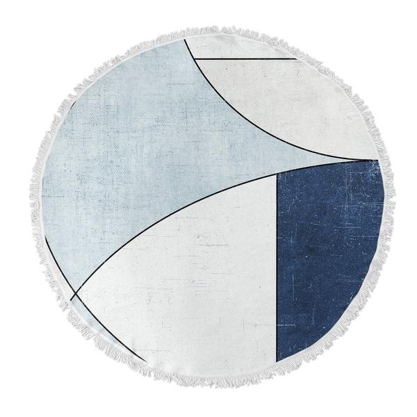 "Kavka Designs Yoka Blue/ Ivory 60""X60"" Round Beach Towel"
