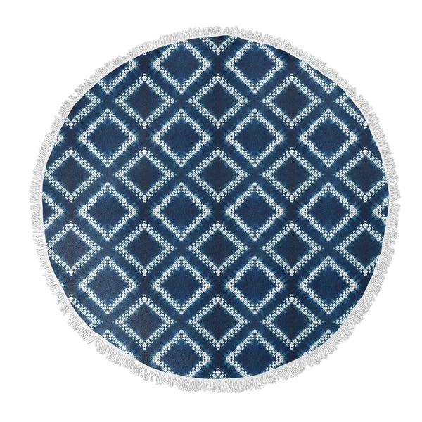 "Kavka Designs Bartail Blue/ White 60""X60"" Round Beach Towel"