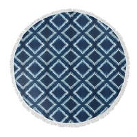 "Kavka Designs Bartail Blue/ White 60""X60"" Round Beach Towel"