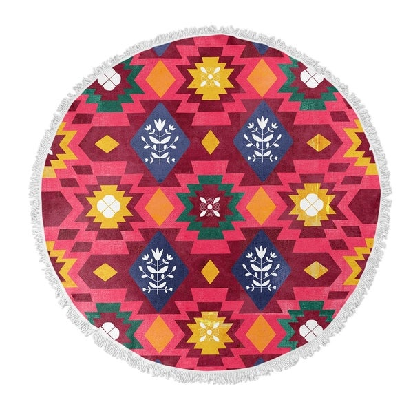 "Kavka Designs Hippy Summer Pink/ Red/ Blue/ Green/ Yellow 60""X60"" Round Beach Towel"