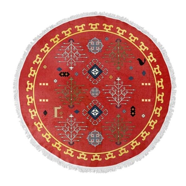"""Kavka Designs Midas Red/ Blue/ Gold 60""""X60"""" Round Beach Towel"""