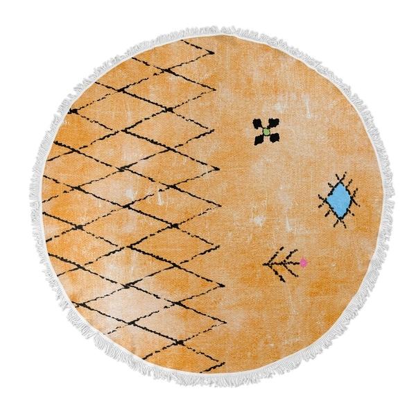"""Kavka Designs Nerissa Orange/ Blue/ Pink 60""""X60"""" Round Beach Towel"""