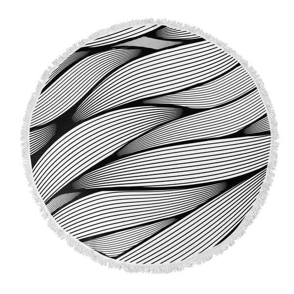"Kavka Designs Wrapped Up Grey 60""X60"" Round Beach Towel"