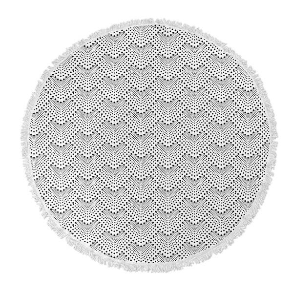 "Kavka Designs Sherbet Grey/ Black/ White 60""X60"" Round Beach Towel"
