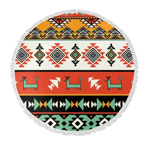 "Kavka Designs Boho Chic Orange/ Teal/ Yellow/ Red 60""X60"" Round Beach Towel"